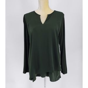 Soft Surrounding | Tulip Hem Mixed Fabric Top - M